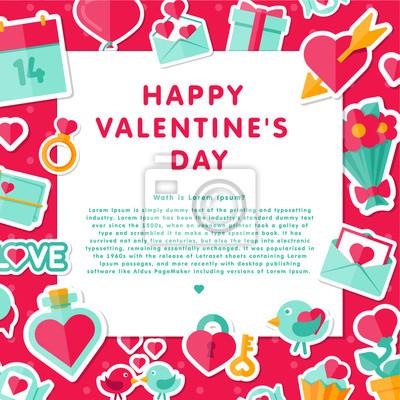 Valentine Hintergrund mit flachen Elementen.