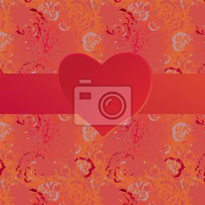 Valentine-Karte mit Herz und Grunge-Muster