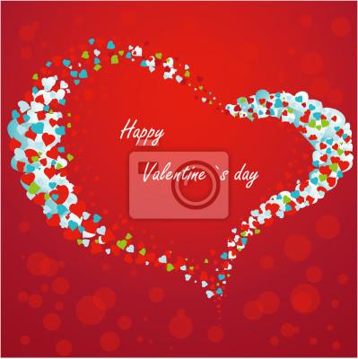 Valentine-Karte mit Herzen auf rotem Hintergrund.