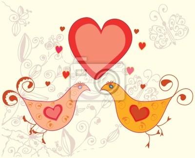 Valentine-Karte mit Vögeln in der Liebe