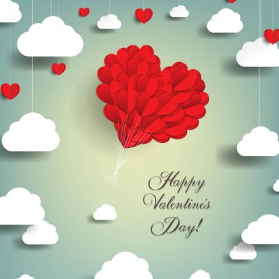 Valentines Day Card WIth Red Heart With Gradient Mesh, Vector Illustration
