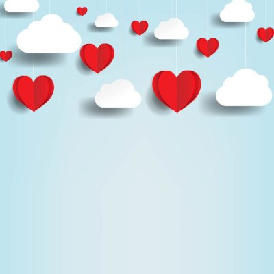 Valentines Day Card WIth Red Hearts And Clouds With Gradient Mesh, Vector Illustration