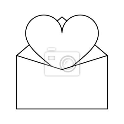 Valentines day romantische mail herz umschlag umreiß vektor ...
