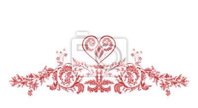 Valentinsgruß floralen Ornamenten und Herz