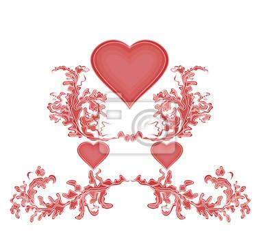 Valentinsgruß mit drei roten Herzen und Verzierungen