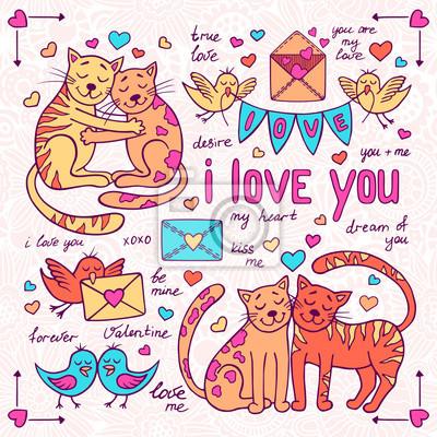 Valentinstag Doodles gesetzt mit Katzen und Vögel