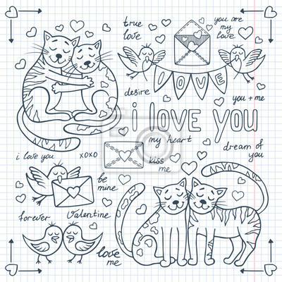 Valentinstag-Doodles mit süßen Tieren gesetzt