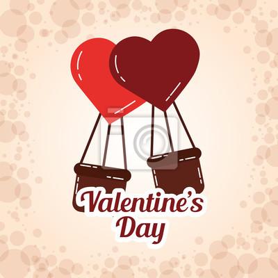 Valentinstag Einladung Herz Ballons Korb Karte Vektor Illustration