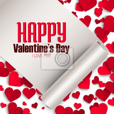 Valentinstag grußkarte vorlage, band mit gruß und rote papier ...