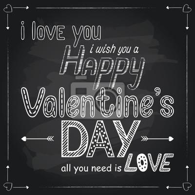 Valentinstag Hand gezeichnet Schriftzug auf Tafel