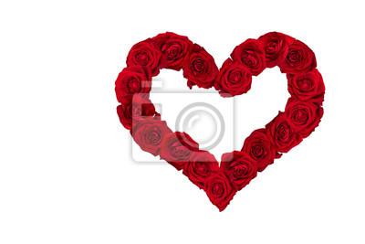 Valentinstag Herz Aus Roten Rosen Weisser Hintergrund Fototapete