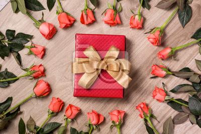 Valentinstag Hintergrund Mit Geschenk Box Voller Rosa Rosen Uber