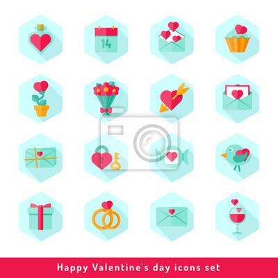 Valentinstag Icon-Set in flachen