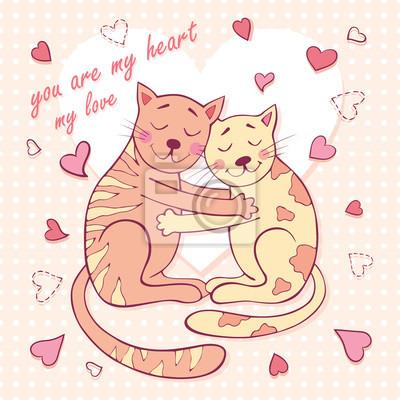Valentinstag-Karte mit zwei von zwei liebevollen Katzen