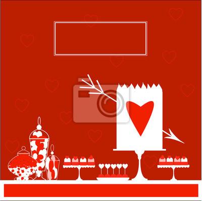 Valentinstag Kuchen Mit Herz Und Pfeil Susser Tisch Abbildung