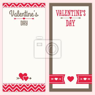 Valentinstag Menu Oder Einladung Designs In Rot Und Braun Fototapete