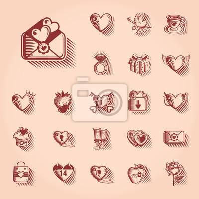 Valentinstag-Retro-Symbol gesetzt