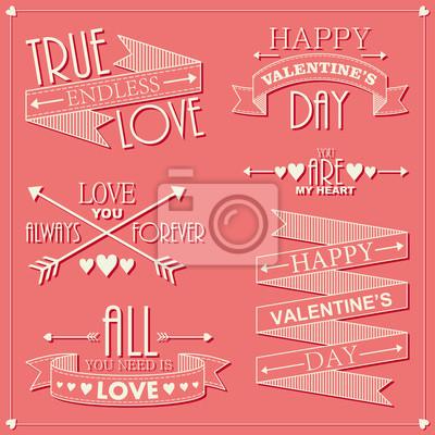 Valentinstag Satz von Grüße Etiketten
