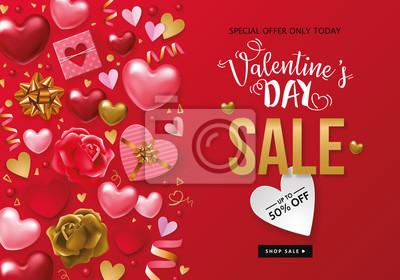 Valentinstag Verkauf Banner Vorlage Fototapete Fototapeten Nubes