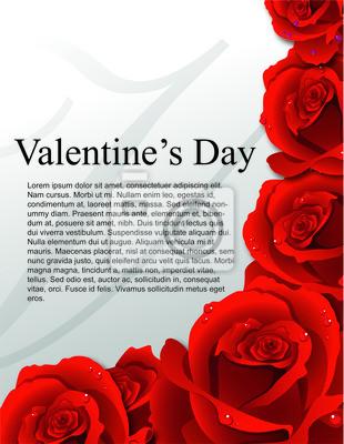 Valinetine Tag Vorlage Karte mit roten Rosen