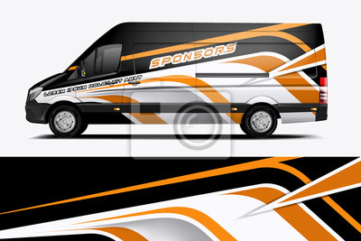 Fototapete Van Wrap Livery design for company. Ready print wrap design for Van. - Vector