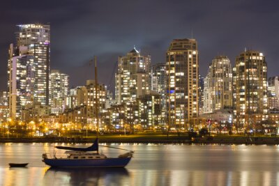 Fototapete Vancouver Skyline und Segelboot