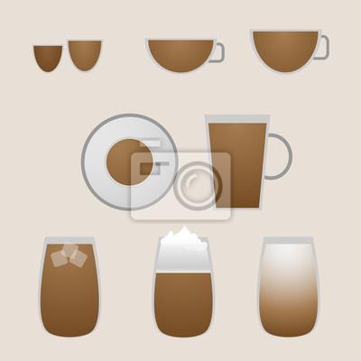 Variety kaffeegetränke mit espresso fototapete • fototapeten zu ...