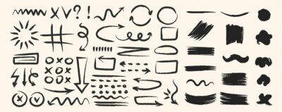 Fototapete Various hand drawn arrows and shapes, black sketchy lines, curves, doodle direction pointers brush stroke style. Abstract vector set
