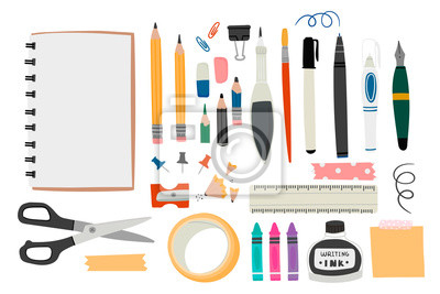 Fototapete Various tools for drawing or sketching. Hand drawn big vector set. Sketchbook, crayons, pencil, eraser, pen, marker, ruler, scissors, ink, etc. Colored trendy illustration. All elements are isolated