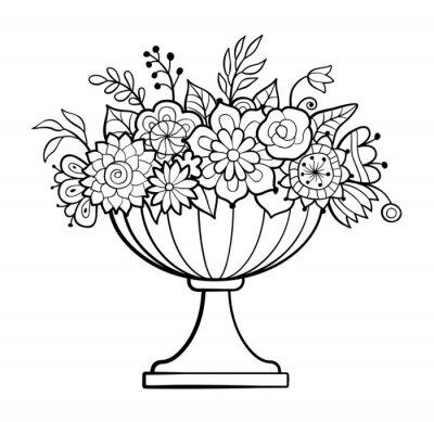 Vase mit blumen. großer blumentopf. monochrome vektor-illustration ...