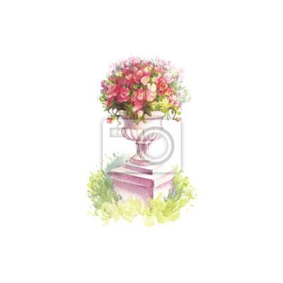 Fabelhaft Vase mit blumen im alten stil. hand zeichnen aquarellabbildung &LB_88