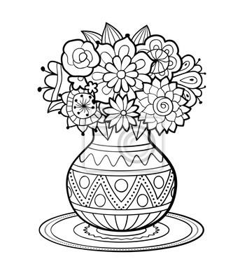 Vase von blumen mit geometrischen ornament stand auf runde serviette ...