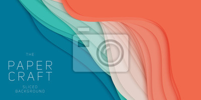 Fototapete Vector 3D abstract background with paper cut shape. Colorful carving art. Paper craft Antelope canyon landscape with gradient colors. Minimalistic design for business presentations, flyers.