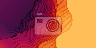 Fototapete Vector 3D abstract background with paper cut shapes. Colorful carving art. Paper craft landscape with gradient fade colors. Minimalistic design layout for business presentations, flyers, posters.
