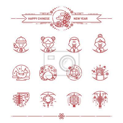 Vector abbildung der glücklichen chinesischen neuen jahr-ikonen ...