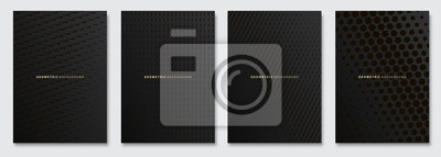 Fototapete Vector abstract background, creative subtle halftone patterns, geometric gradient texture. Deluxe Minimal pattern design. Dark colors. Modern Cover templates set.