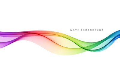 Fototapete Vector abstract colorful flowing wave lines isolated on white background. Design element for technology, science, music or modern concept.