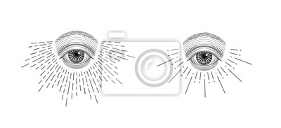 Fototapete Vector all-seeing eye, eye in the sky with light ray, symbol of the Masons, Illuminati, monochrome hand drawn sketch