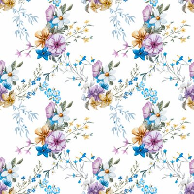 Fototapete Vector Aquarell Blumenmuster