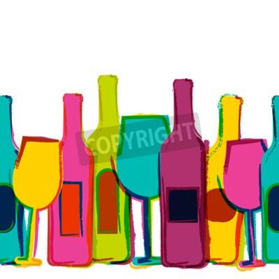 Fototapete Vector Aquarell nahtlose Hintergrund, bunte Weinflaschen und Gläser. Konzept für Bar-Menü, Party, Alkoholgetränke, Feiertage, Weinkarte, Flyer, Broschüre, Poster, Banner. Kreatives, modisches Design.