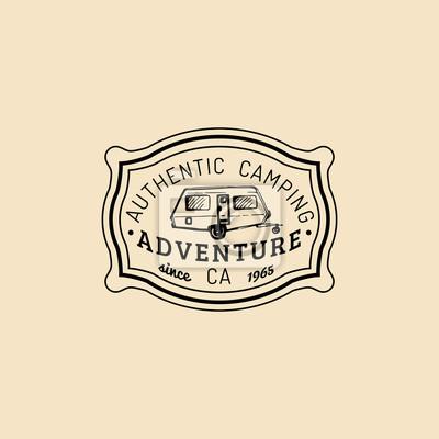 Vector Authentisches Lager Logo Tourist Zeichen Mit Hand