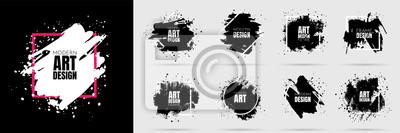 Fototapete Vector background for text. Grunge banners set. Black paint. Brush ink stroke. Isolated square white frame. Element for design poster, cover, invitation, gift card, flyer, social media, promotion.