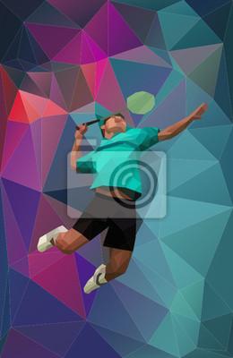 Vector Badmintonspieler auf dreieckigen Hintergrund während Smash