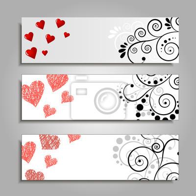 Vector banner-vorlagen mit floralen elementen gesetzt. fototapete ...