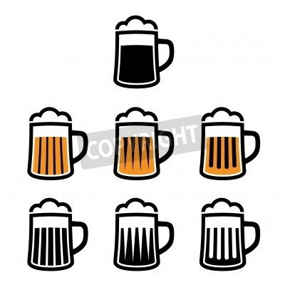 Fototapete vector beer mug symbols