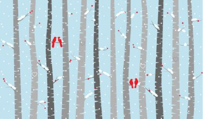 Fototapete Vector Birch or Aspen Trees with Snow and Love Birds