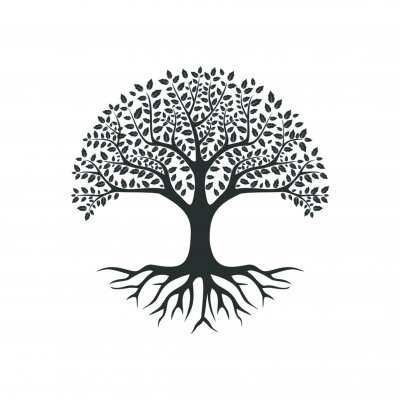Fototapete vector black tree of live icon on white background