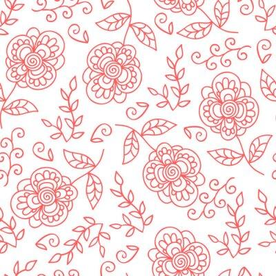 Fototapete Vector Blume und Blätter nahtlose Muster. Gekritzel nette Blumen.