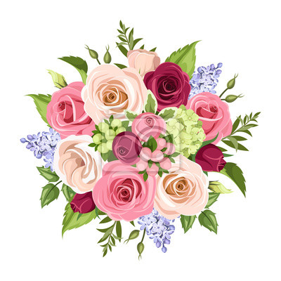 Vector Bouquet Of Pink White Purple And Blue Roses Lisianthuses
