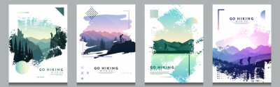 Fototapete Vector brochure cards set. Travel concept of discovering, exploring and observing nature. Hiking. Adventure tourism. Flat design template of flyer, magazine, book cover, banner, invitation, poster.